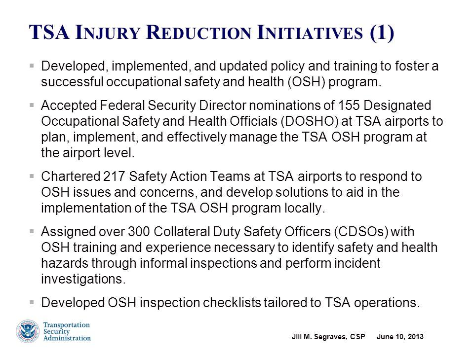 TSA Occupational Safety & Health Program - 2003
