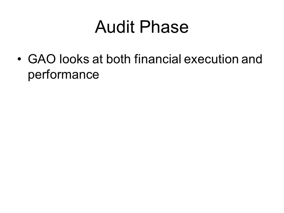 Audit Phase GAO looks at both financial execution and performance