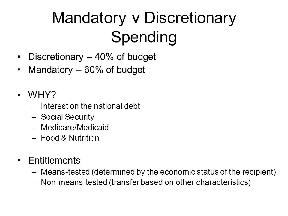 Mandatory v Discretionary Spending