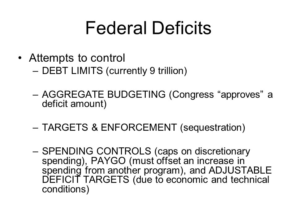 Federal Deficits Attempts to control