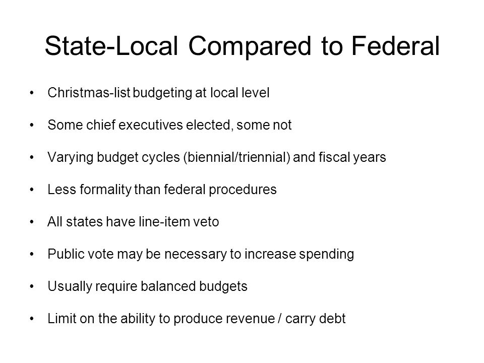 State-Local Compared to Federal