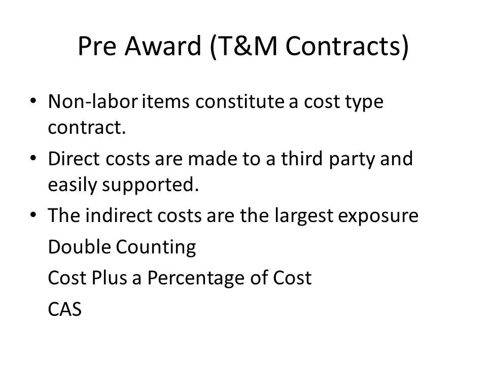 Pre Award (T&M Contracts)