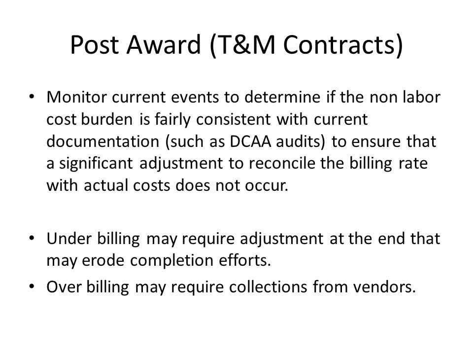 Post Award (T&M Contracts)
