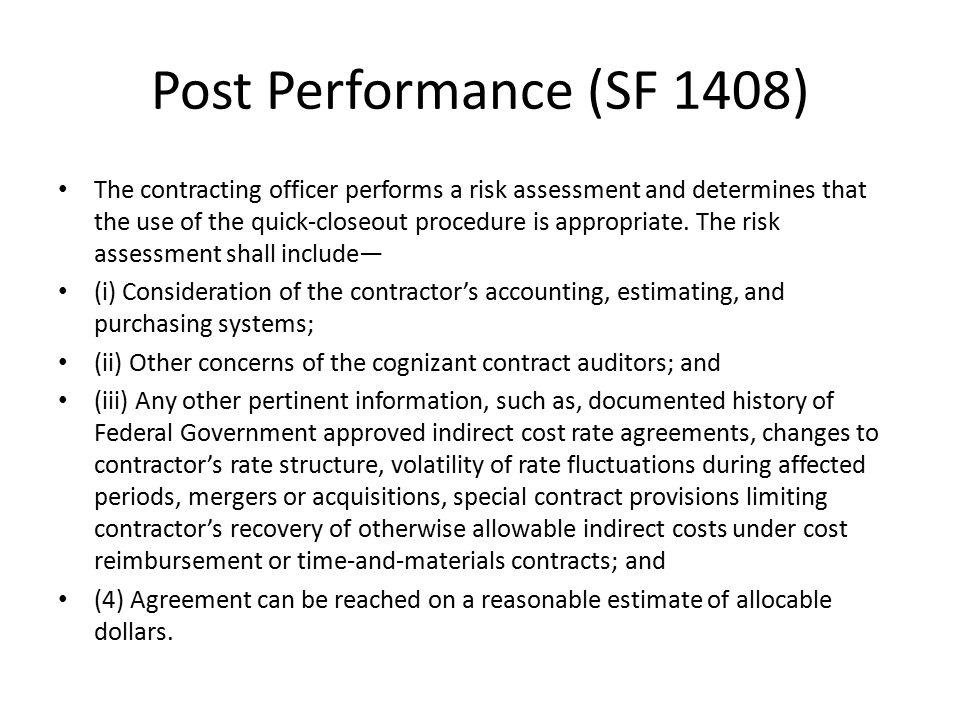 Post Performance (SF 1408)