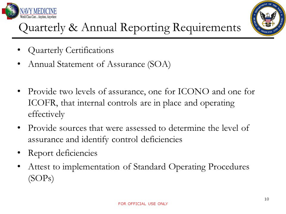 Quarterly & Annual Reporting Requirements