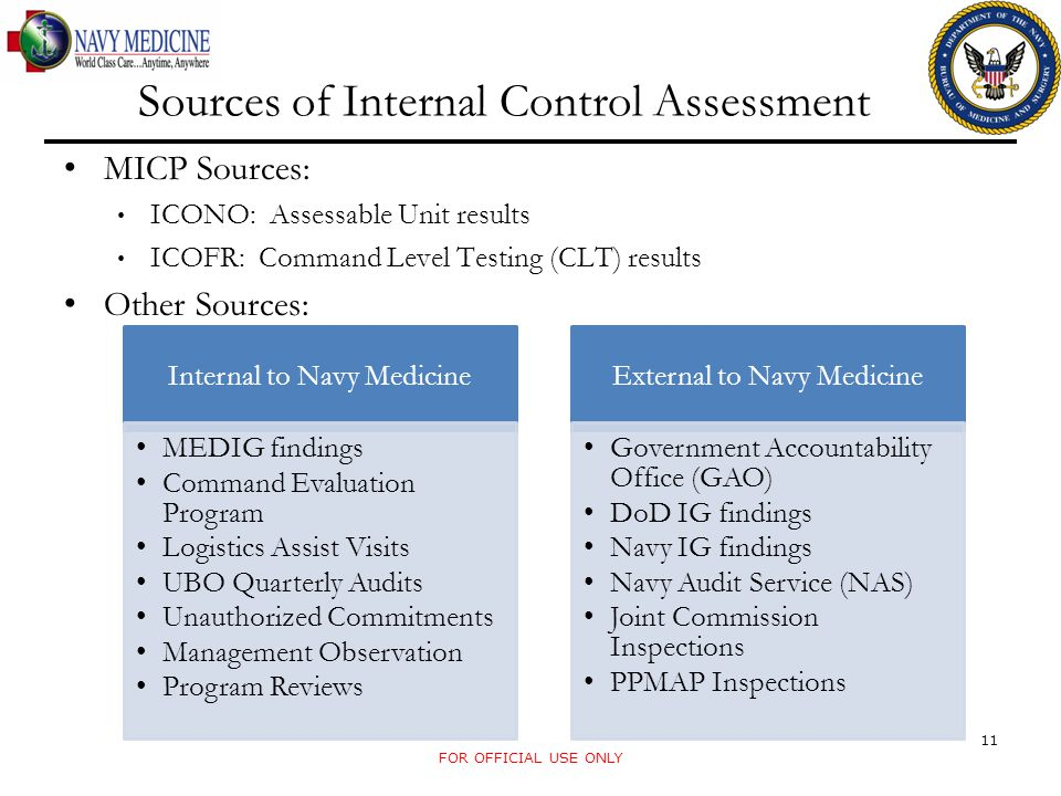 Sources of Internal Control Assessment