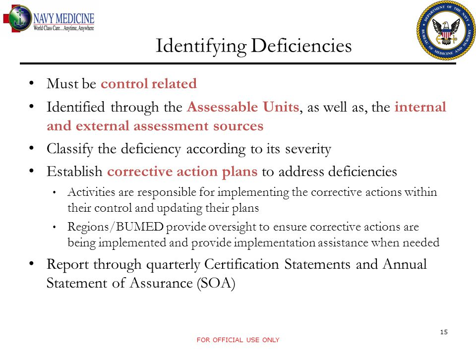 Identifying Deficiencies