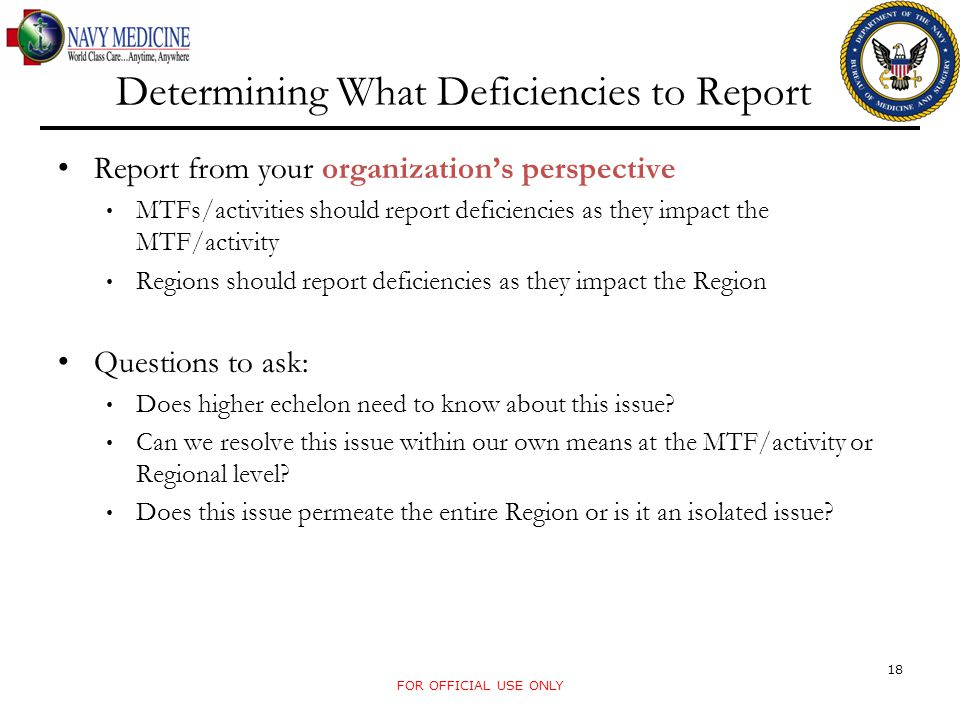 Determining What Deficiencies to Report