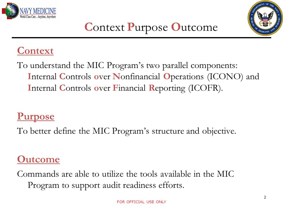 Context Purpose Outcome