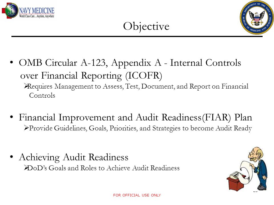 Objective OMB Circular A-123, Appendix A - Internal Controls