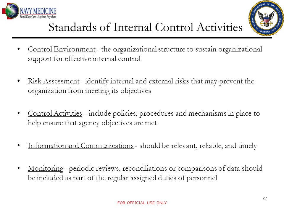 Standards of Internal Control Activities