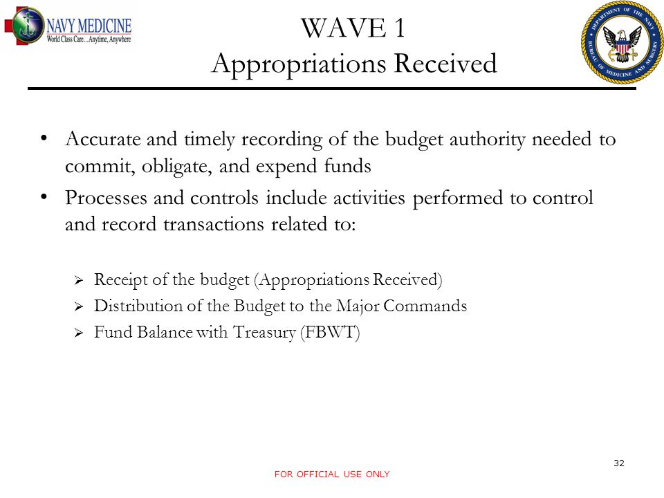 WAVE 1 Appropriations Received