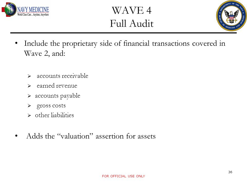 WAVE 4 Full Audit Include the proprietary side of financial transactions covered in Wave 2, and: accounts receivable.