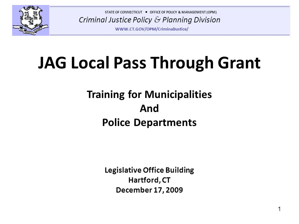 JAG Local Pass Through Grant