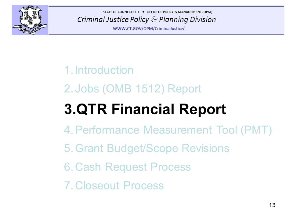 QTR Financial Report Introduction Jobs (OMB 1512) Report