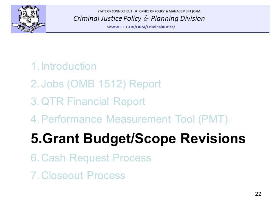 Grant Budget/Scope Revisions
