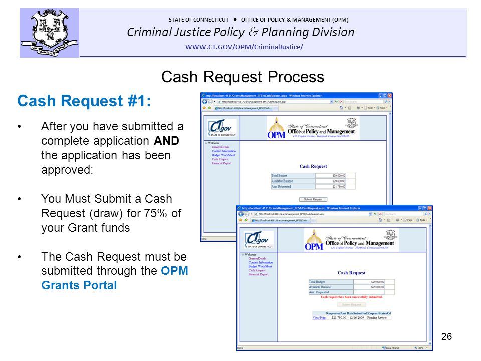 Cash Request Process Cash Request #1: