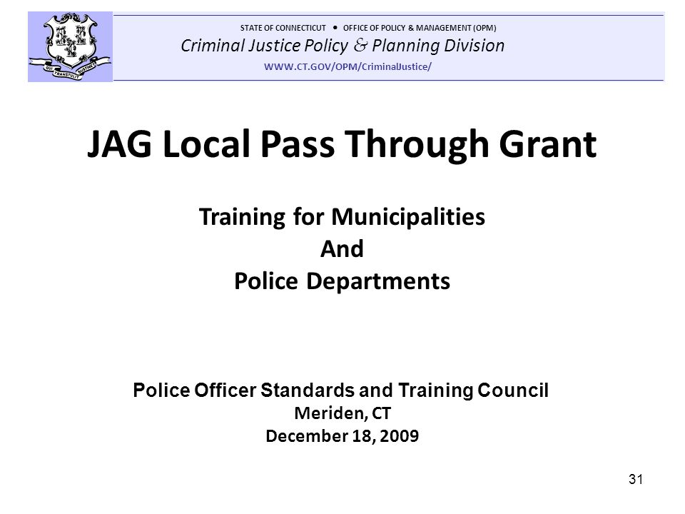JAG Local Pass Through Grant Training for Municipalities