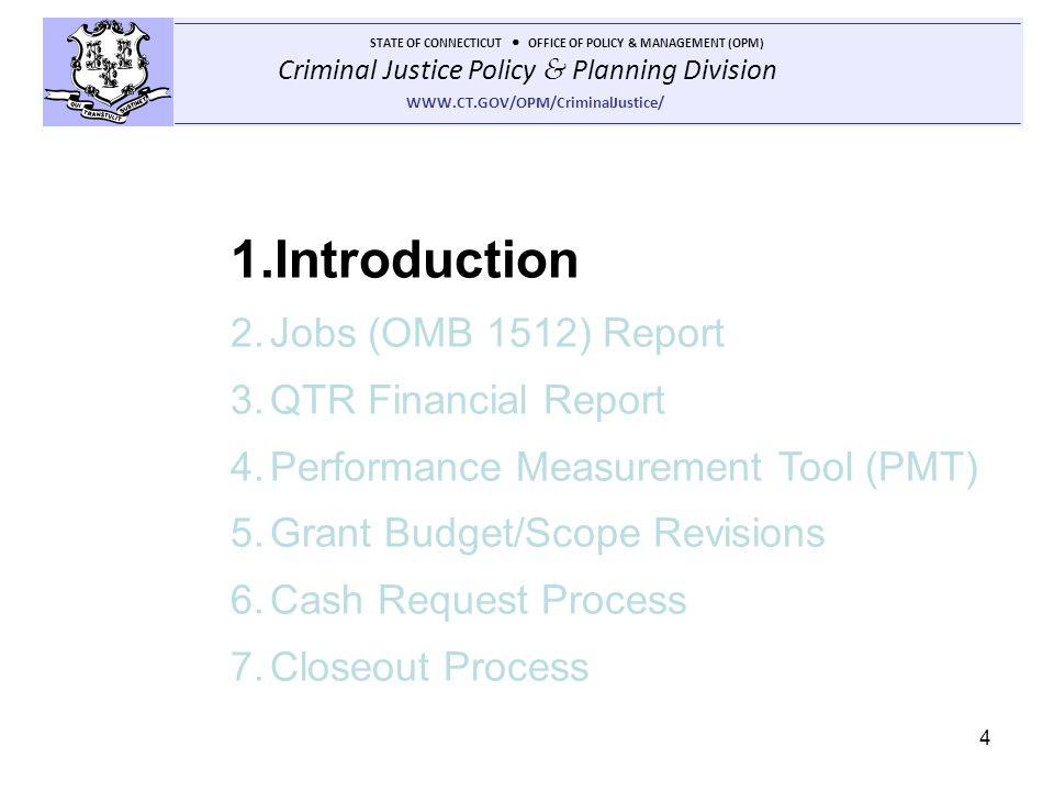Introduction Jobs (OMB 1512) Report QTR Financial Report