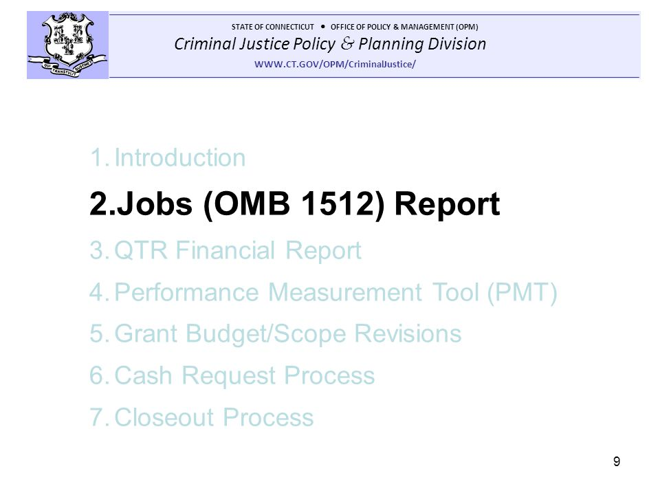 Jobs (OMB 1512) Report Introduction QTR Financial Report