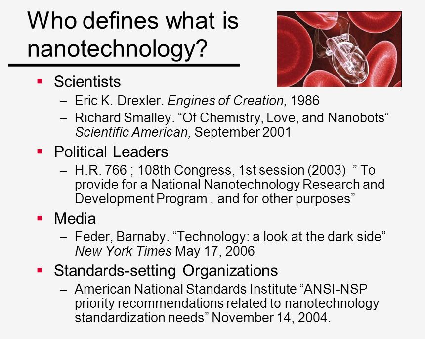 Who defines what is nanotechnology