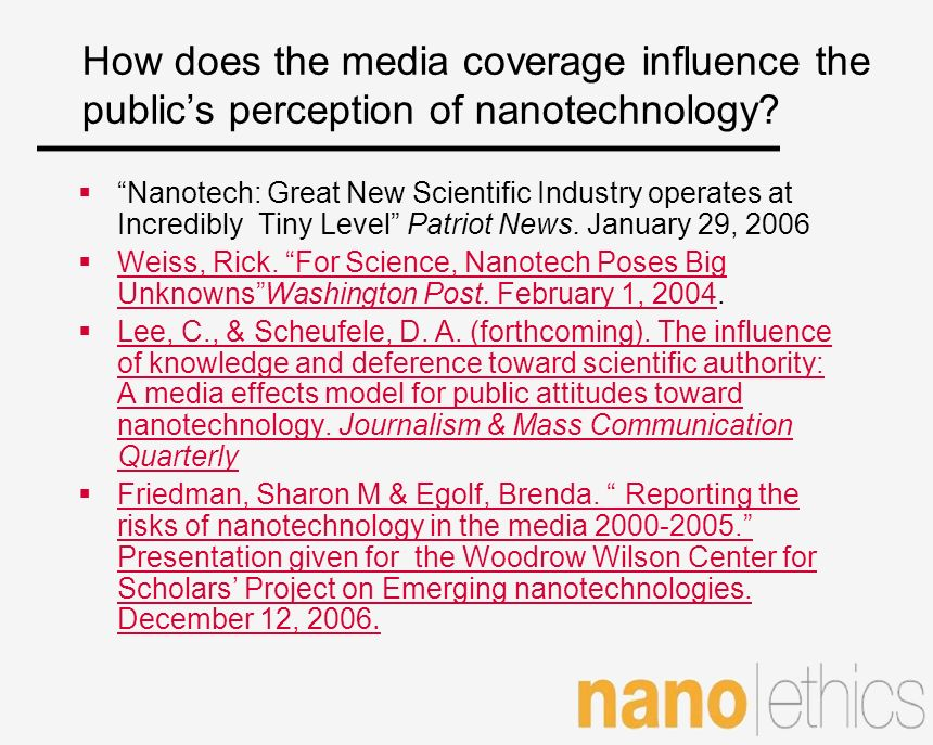 How does the media coverage influence the public's perception of nanotechnology