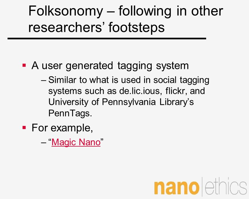 Folksonomy – following in other researchers' footsteps