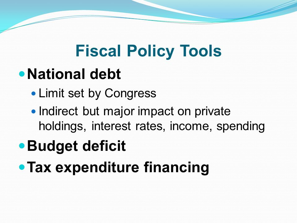 Fiscal Policy Tools National debt Budget deficit