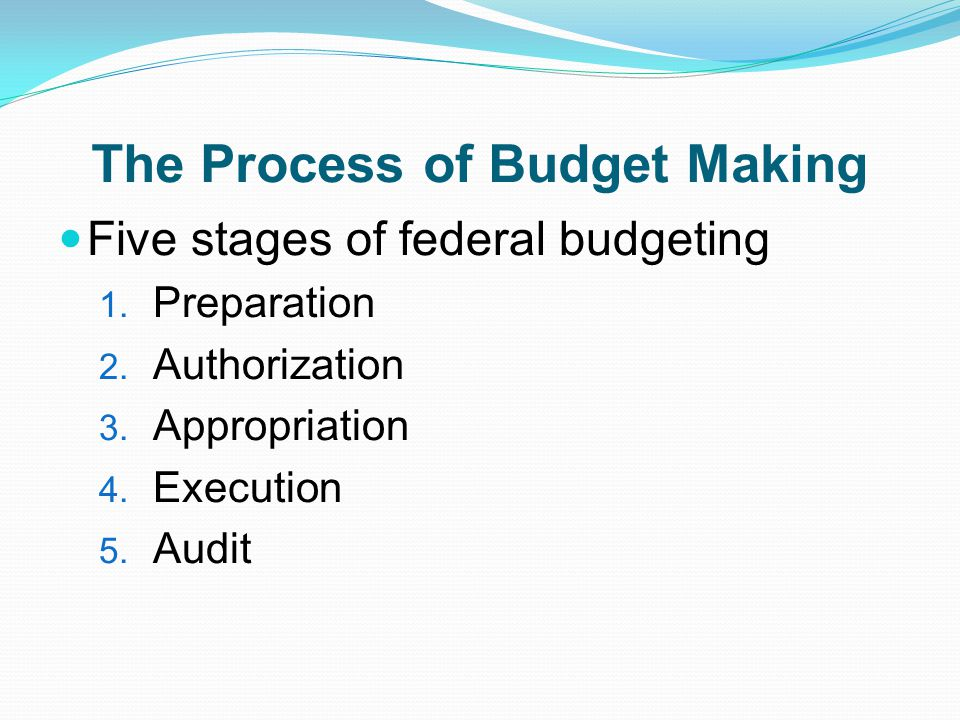 The Process of Budget Making