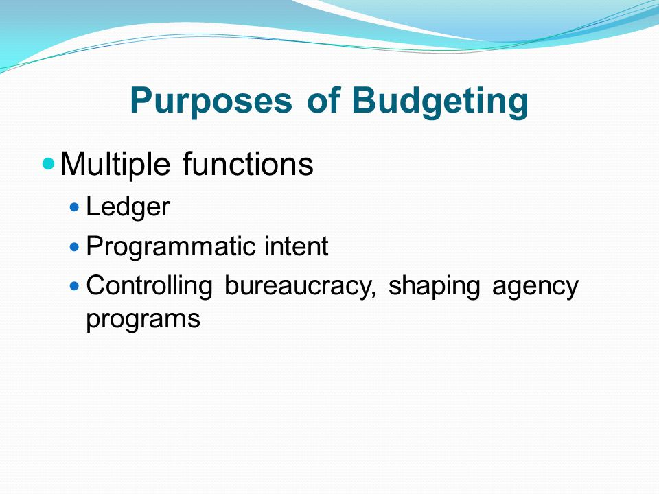 Purposes of Budgeting Multiple functions Ledger Programmatic intent
