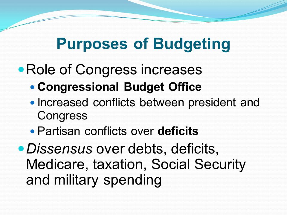 Purposes of Budgeting Role of Congress increases