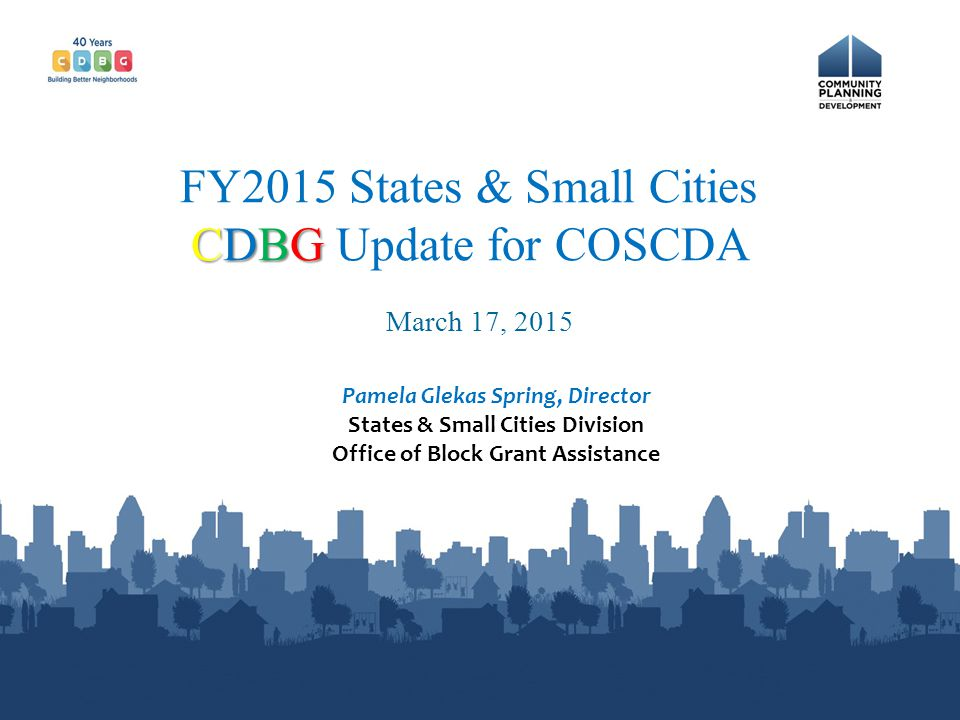 FY2015 States & Small Cities CDBG Update for COSCDA
