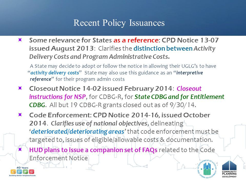 Recent Policy Issuances