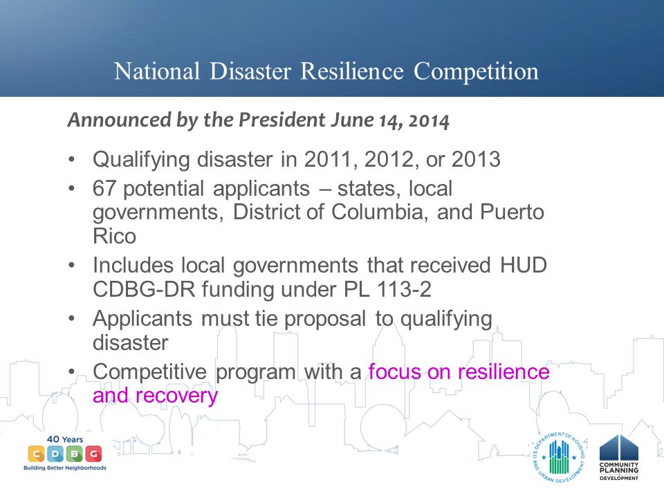 National Disaster Resilience Competition