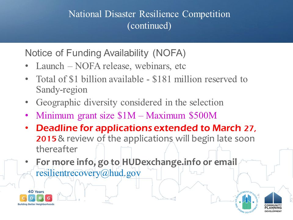 National Disaster Resilience Competition (continued)