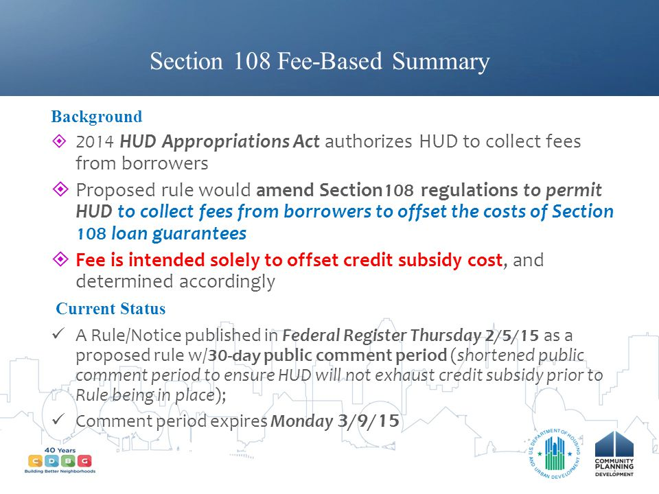 Section 108 Fee-Based Summary