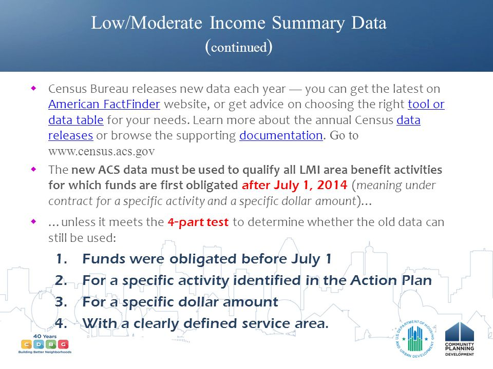 Low/Moderate Income Summary Data (continued)
