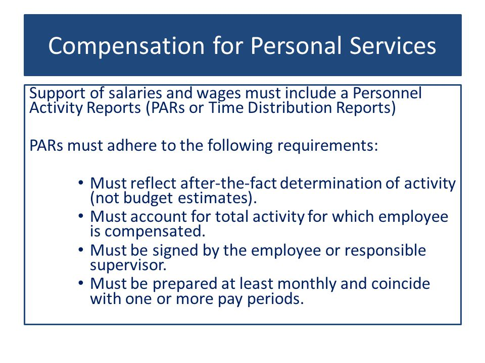 Compensation for Personal Services