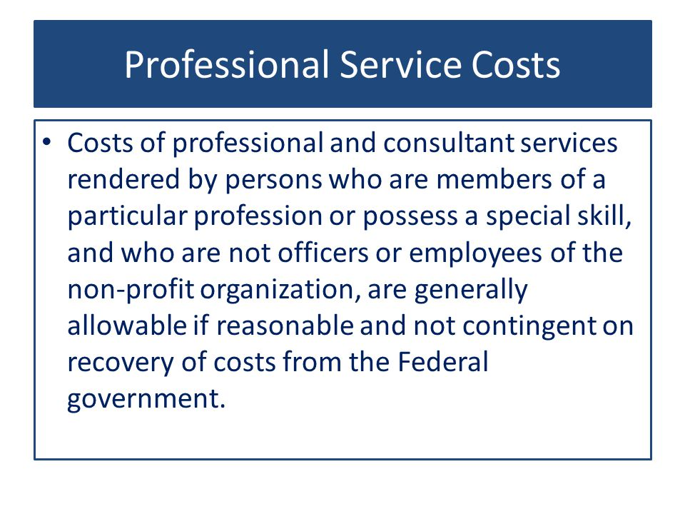 Professional Service Costs