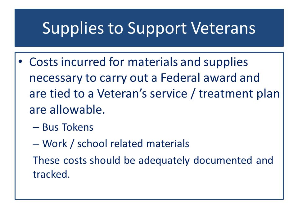 Supplies to Support Veterans