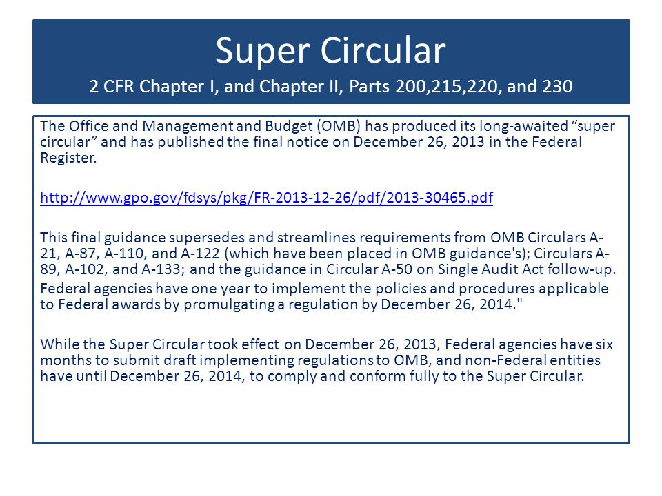 Super Circular 2 CFR Chapter I, and Chapter II, Parts 200,215,220, and 230