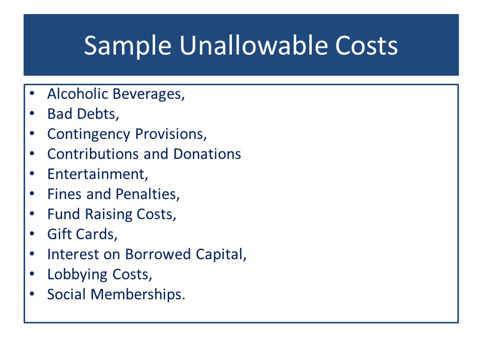 Sample Unallowable Costs