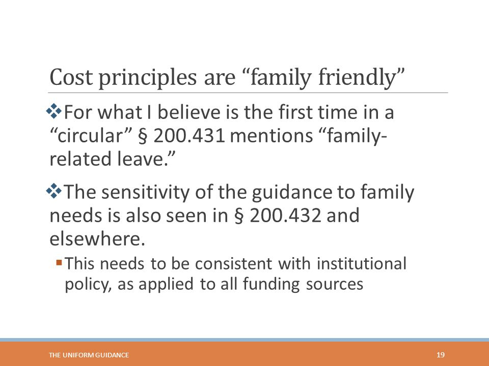 Cost principles are family friendly