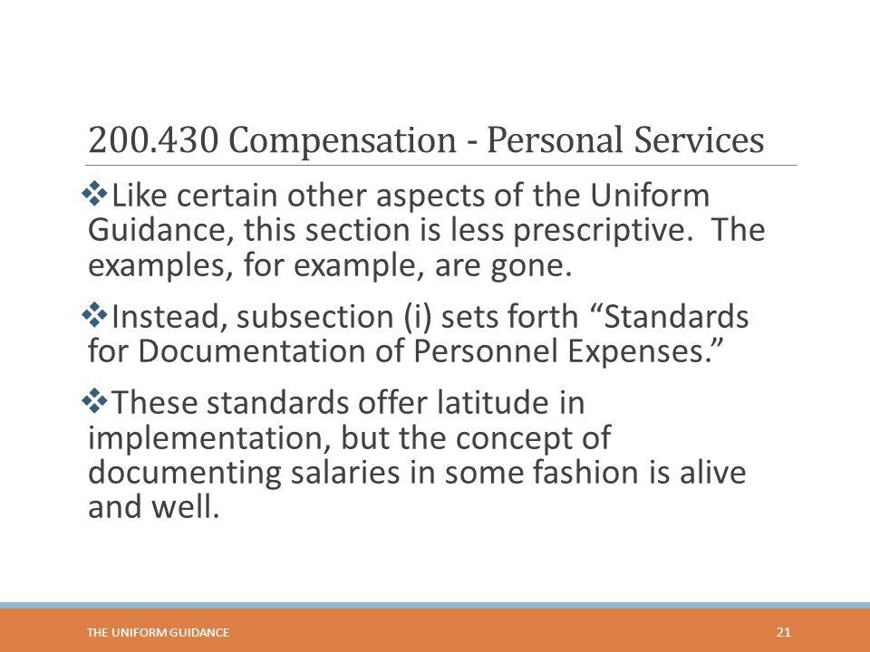 200.430 Compensation - Personal Services