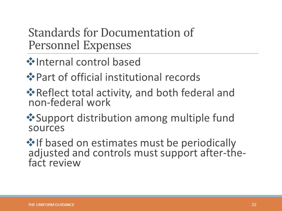Standards for Documentation of Personnel Expenses