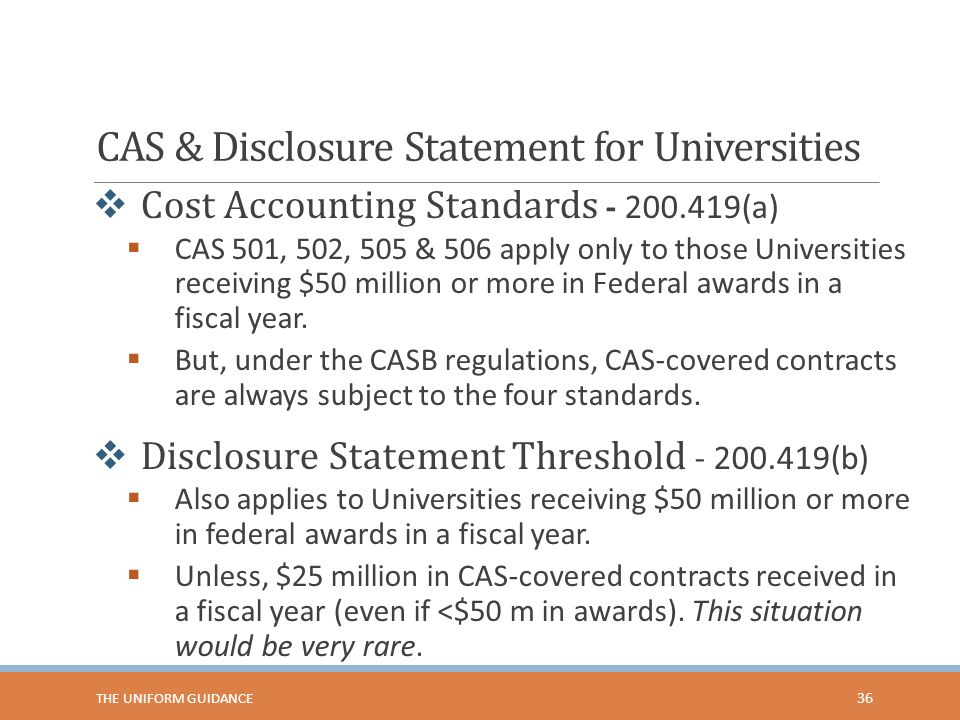CAS & Disclosure Statement for Universities