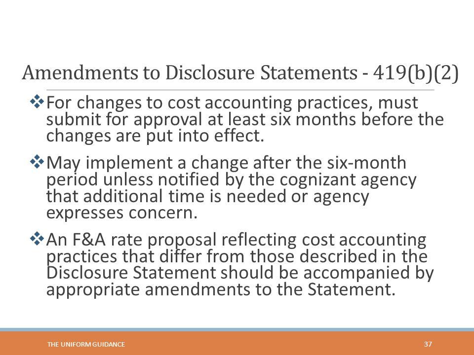 Amendments to Disclosure Statements - 419(b)(2)