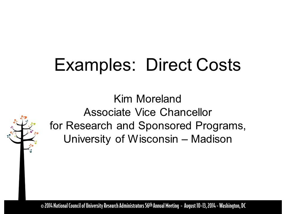 Examples: Direct Costs Kim Moreland Associate Vice Chancellor for Research and Sponsored Programs, University of Wisconsin – Madison