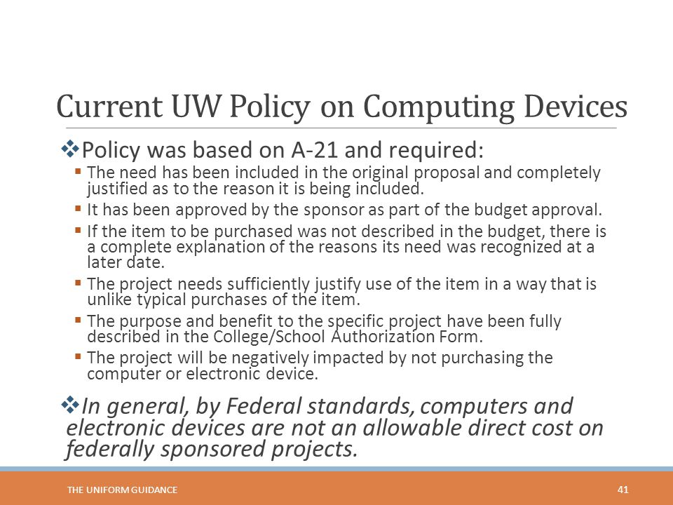 Current UW Policy on Computing Devices
