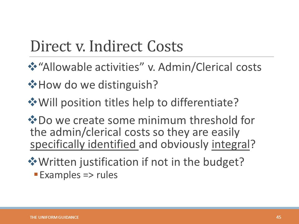 Direct v. Indirect Costs